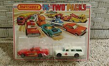 """Vintage unopened Lesney Matchbox """"Two"""" Packs TP-10 1975 Fire Chief & Ambulance"""