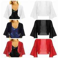 Women's Flare Sleeves Open Front Bolero Shrug Shawl Cropped Chiffon Cardigan Top