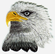 BALD EAGLE head turned EMBROIDERED IRON-ON PATCH -american usa u.s.a. biker bird