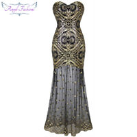 Angel-fashions Vintage Sequin Gastby 20's Gold Flapper Evening Prom dress 042