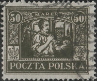 POLOGNE / POLAND - UPPER SILESIA 1922 Mi.16 p.12 3/4 - 50Mk dark olive VF Used