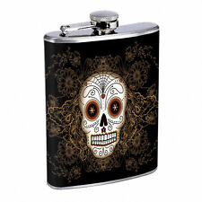 Sugar Skull D11 8oz Hip Flask Stainless Steel Day of the Dead Los Muertos Art
