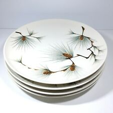 4 Canyon Pine Kanedai Dinner Plates Mid Century Pinecone Handpainted Japan 10.5""
