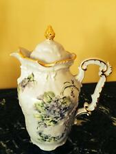 Gorgeous Vintage Handpainted  Lavender Tea/Coffe Pot with Gold and Violets