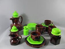 Vintage 70s céramique café vaisselle marron vert 26 pièces