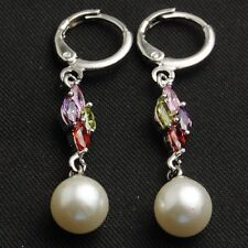 Lovely New White Gold Plated Multi-Color Marquis Accented Pearl Dangle Earrings