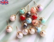 Women's 8mm Rose Gold Pearl Stud Earrings in 8 Beautiful Colour's - UK Free P&P