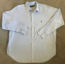 Ralph Lauren Classic Fit Oxford White Striped Long Sleeve Shirt - 3XLT 3XL TALL