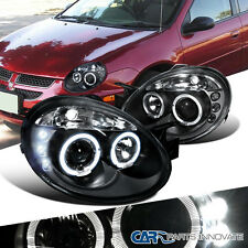 Dodge 2003-2005 Neon SRT4 SRT-4 Replacement Halo LED Projector Headlights Black