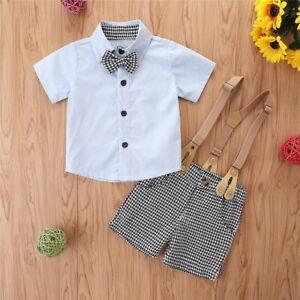 Newborn Baby Boy Gentleman Outfit Formal Party Wedding Bowtie Shirt Shorts Suit