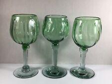 Set If 3 Mexican Hand Blown Wine Glasses~ Swirl Pattern