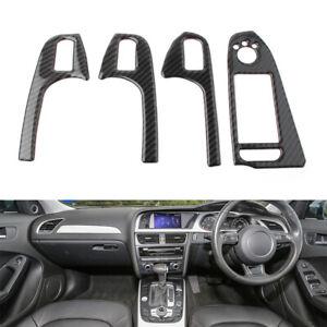 Carbon Fiber Interior Door Cover Armrest Trim 4pcs For Audi A4 B8 2008-2015 RHD