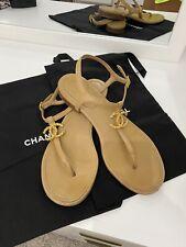 Chanel 20C Brown Lambskin Gold Cc Logo Mule Ankle Strap Thong Sandal Flat 40