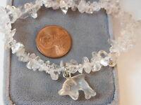 Vintage Carved Dolphin Charm Clear Quartz Stone Nugget Stretch Bracelet 8b 33