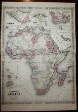 Africa Mts. of Moon Liberia Cape Colony 1864 Johnson Ward fine large old map