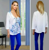 PER UNA TOP SIZE 18 WHITE JERSEY WITH LACE DETAIL 3/4 SLEEVE COLLARLESS #16