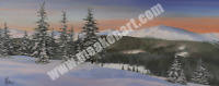 """Original Oil Painting """"A Winter Panorama"""" 16""""x 40"""" Oil on canvas - FRAMED"""