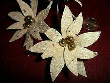 Vintage Mica Cover Paper Poinsettias Gold Mercury Glass Center Made in Japan