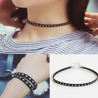 Vintage Black Leather Rivet Studded Choker Chunky Necklace Bracelet Punk Gothic