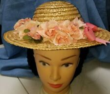 Girl's Hat Low Crowned Natural Straw 1840-1860's Peach Ribbon and Roses