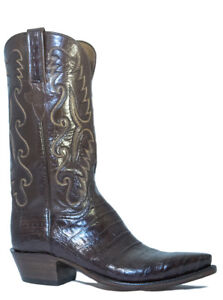 Lucchese Men's E2145.54 Classic Caiman Belly Crocodile Cowboy Boots, Dark Brown