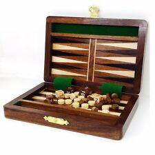 """6"""" Wooden Travel Backgammon Set Includes Game Pieces & Folding Board"""