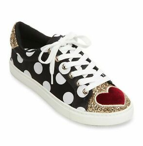 Betsey Johnson Blair Dot Black Gold Glitter Red Heart Sneakers Shoes NEW in Box