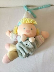 Vintage Eden Clown Musical Crib Baby Plush Pull Toy Pastels It's a Small World