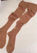True VTG 100% Silk Stockings Sheer Back Seam Cuban Heel For Garter 9 Long
