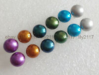 Natural 6pairs 7-8mm Multi-Color Akoya Cultured Pearl Silver Stud Earrings AAA