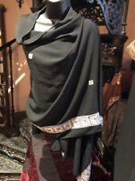 Vintage Sequined Black Sari Shawl Scarf Wrap