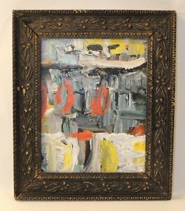 VTG Antique Pastel Painting Hand Framed Art Texture Bright Bold Abstract Style