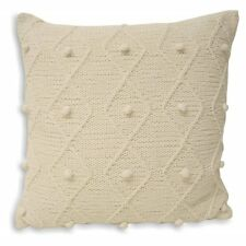 100% Cotton Hand Knitted Pom Pom Style Cushion Cover In White 55cm x 55cm