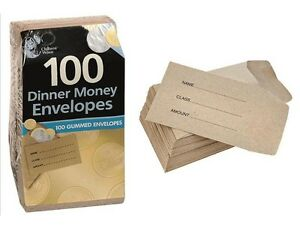 50 100 200 SMALL BROWN CHILDREN SCHOOL WAGES PETTY CASH DINNER MONEY ENVELOPES