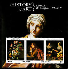 Liberia 2013 MNH History of Art Female Baroque Artists 3v M/S Ruysch Gentileschi
