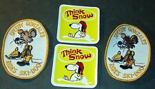 (2) VINTAGE SKI-DOO PATCHES SPEEDY RIDES SKI-DOO & 2 THINK SNOW DECALS  (803)