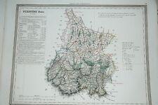 65 Hautes Pyrénées carte gravure Dufour et Duvotenay 1860 (75-7