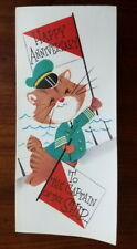 Vtg mid-century Rust Craft anniversary card, ship nautical theme, cats, unused