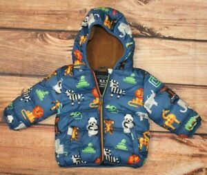 NEXT Baby Boy Puffer Jacket Winter Blue Padded Hooded 9-12 Months