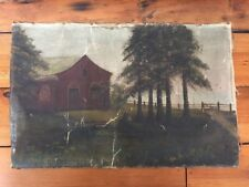 Antique Colonial American Original Primitive Farm House Pine Trees Oil Painting
