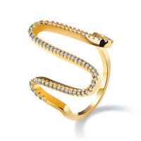 Bride Curve CZ Yellow Gold GP Women Wedding Jewelry Band Ring Size 6 7 8 9 Gift