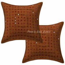 Ethnic Cotton Geometric Brown 16x16 Embroidered Mirror Lace Pillow Covers