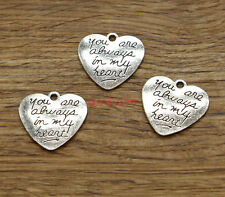 20 Heart Charms You are alwasy in my heart Charms Antique Silver Tone 21x20 1950