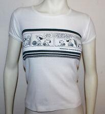 Snoopy comic strip tennis vintage womens cut t-shirt S white Peanuts Gang