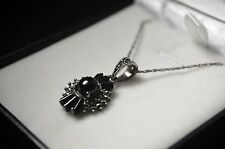 "BNIB sterling silver marcasite and black stone necklace 18"" rope chain"