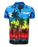 MENS HAWAIIAN SHIRT STAG BEACH HAWAII ALOHA  SUMMER HOLIDAY FANCY BLUE PALM