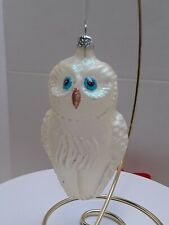 Owl Glass Christmas Ornament frosted white with glitter accents