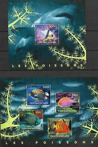"""CENTRAL AFRICA - 2014 MNH """"Fauna - FISH"""" Two Souvenir Sheets !!"""
