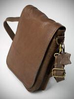 Ital. UNISEX Umhänge Tasche College Messenger Crossbody Bag Braun echt Leder 70