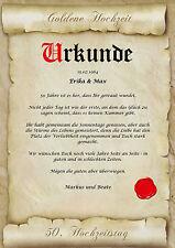 Goldene Hochzeit Urkunde Geschenk zum 50. Hochzeitstag Pergament div. Motive